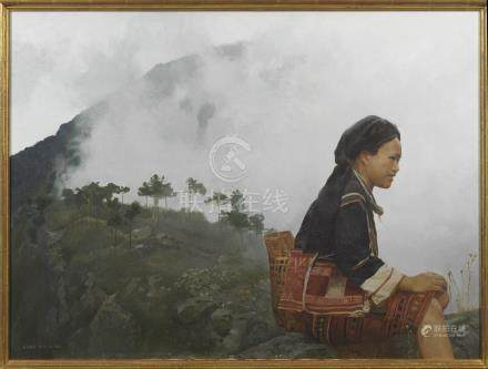 CHEN YAN NING (1945-) MORNING MIST A Chinese painting, oil on canvas, signed Chen Yan Ning,