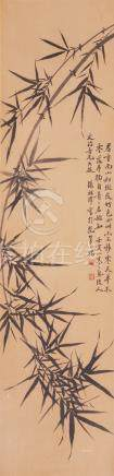 ZHANG ZU ZE (20TH CENTURY) BAMBOO A Chinese scroll painting, ink on paper, inscribed, dated the