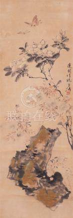 GAO SHI KUI (20TH CENTURY) PEONIES A Chinese scroll painting, ink and colour on paper, inscribed and