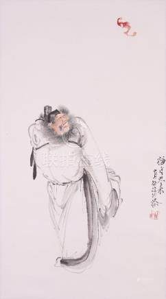 XU CAO (1899-1961) PORTRAIT OF ZHONG KUI A Chinese scroll painting, ink and colour on paper,