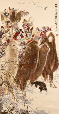 HUANG ZHOU (1925-1997) FIGURES RIDING CAMELS CELEBRATING A MARRIAGE A Chinese hanging scroll, ink
