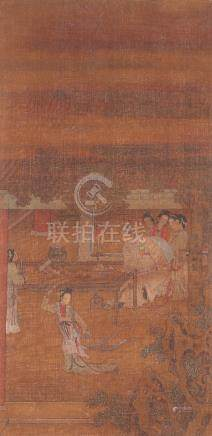 AFTER LENG MEI (19TH CENTURY) LADY GONG SUN'S SWORD DANCE A Chinese scroll painting, ink and