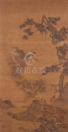 ANONYMOUS (MING) WATCHING THE WATERFALL AT THE LU MOUNTAIN A Chinese scroll painting, ink on silk,