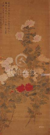 AFTER YUN SHOU PING (QING DYNASTY) PEONIES A Chinese scroll painting, ink and colour on silk,