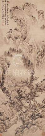 ATTRIBUTED TO SHEN ZHOU (19TH CENTURY) AUTUMN LANDSCAPE A Chinese scroll painting, ink and colour on