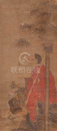 LUO PIN (19TH CENTURY) A LUOHAN A Chinese scroll painting, ink and colour on paper, signed wo long