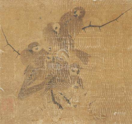 ANONYMOUS (YUAN DYNASTY OR LATER) SPARROWS A panel of Chinese painting, ink on silk, with one