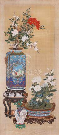 ANONYMOUS (REPUBLIC PERIOD) ANTIQUES AND FLOWERS A Chinese painting, ink and colour on silk,