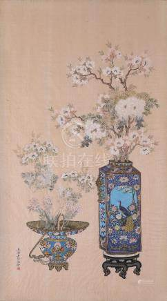 WANG ZHEN HAI (LATE QING DYNASTY/REPUBLIC PERIOD) FLOWER AND VASE A Chinese painting, ink and colour