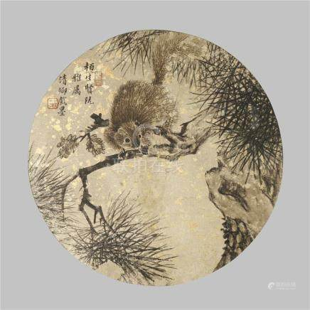 WU DA CHENG (1835-1902) SQUIRREL ON A PINE TREE A Chinese circular fan leaf painting, ink on silk,