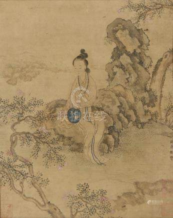 AFTER ZHOU WEN JU (LATE QING DYNASTY) LADY IN A GARDEN A Chinese watercolour painting, ink and