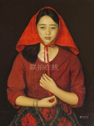 YANG FEI YUN (1954-) THE NORTHERN GIRL A Chinese painting, oil on canvas, signed September 1987,