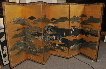 Six panel screen. Japan. 19th to early 20th century.