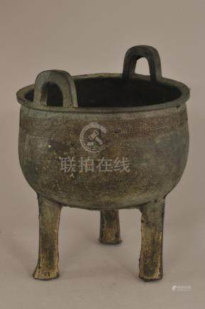 Bronze ritual vessel. China. Archaic style Ting with