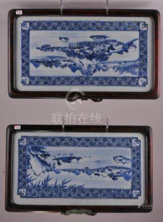 Pair of Chinese blue and white porcelain plaques.