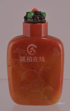 Agate snuff bottle. China. 19th century. Rectangular
