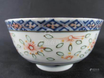 Chinese Blue and White Gold Drawing Bowl