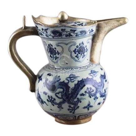 Chinese Blue and White Porcelain Teapot w/Silver