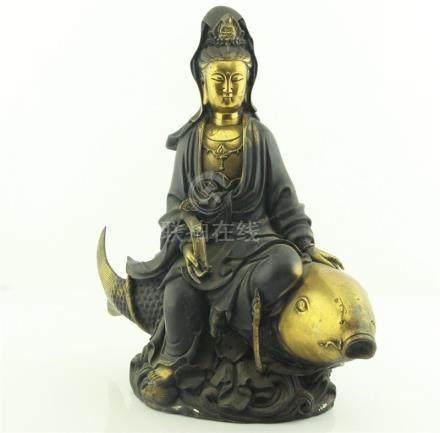 Chinese Gilt Bronze Ganyin