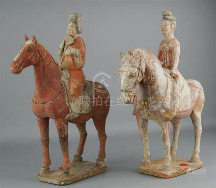 TWO CHINESE PAINTED POTTERY HORSES AND RIDERS, TANG DYNASTY