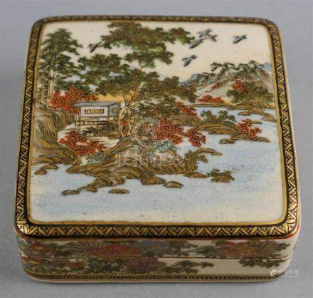 JAPANESE SATSUMA SQUARE BOX AND COVER, SIGNED CHO SHU ZAN