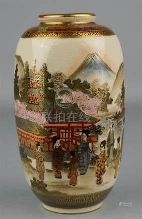 JAPANESE HEXAGONAL-FORM SATSUMA VASE, SIGNED HAYAKAWA, 19TH