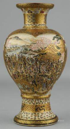 JAPANESE SATSUMA VASE WITH PROCESSIONS IN CARTOUCHES, SIGNED