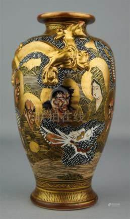 JAPANESE SATSUMA VASE, SIGNED TAMARU-NI, 19TH CENTURY