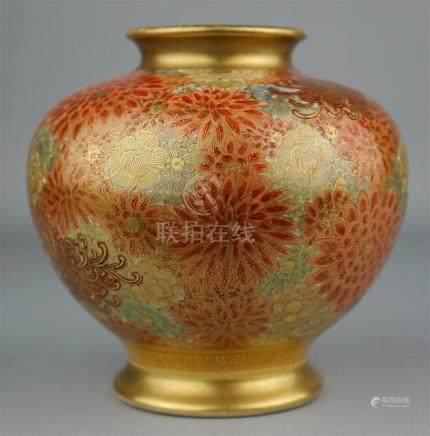 JAPANESE GLOBULAR FLORAL SATSUMA VASE, SIGNED EIZAN, 19TH CE