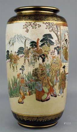 TALL JAPANESE COBALT BLUE GROUND VASE SIGNED KOZAN, 19TH CEN