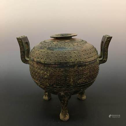 Chinese Bronze Food Vessle (Dou) With Inscriptions