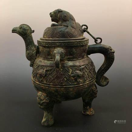 Chinese Bronze Tripod Wine Vessle With Inscriptions