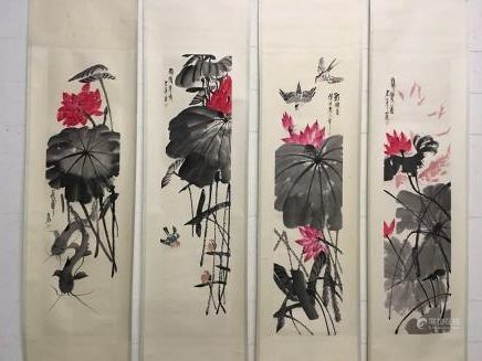Four Hanging Scrolls Of Lotus