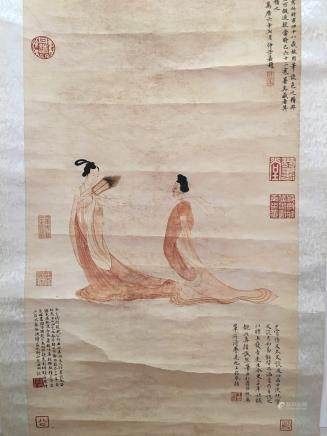 Chinese Hanging Scroll of Immortals