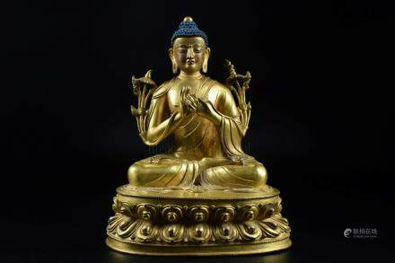 GILT BRONZE CAST 'MANJUSRI' SEATED FIGURE