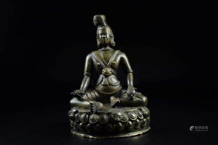 BRONZE CAST GUARDIAN SEATED FIGURE