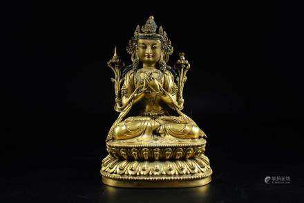 GILT BRONZE CAST AVALOKITESHVARA SEATED FIGURE