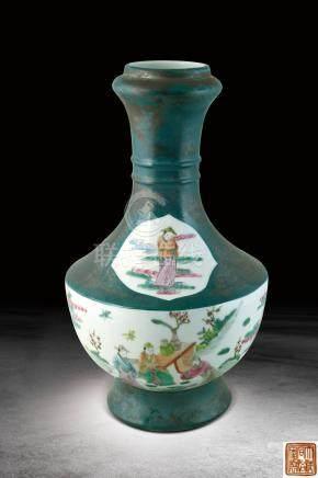 清 粉彩開光人物纹瓶 (大清同治年製)款