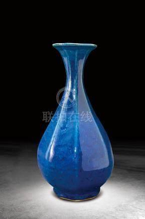 明 藍釉八棱瓶