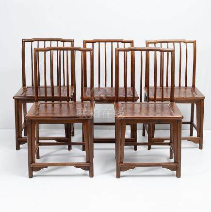 SET OF FIVE CHINESES CHAIRS