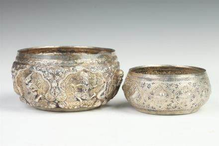 TWO BURMESE SILVER BOWLS. - Larger: 6 in. diam.