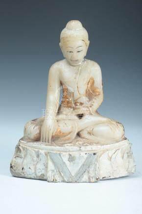 BURMESE POLYCHROME WHITE MARBLE FIGURE OF BUDDHA, 19th centu