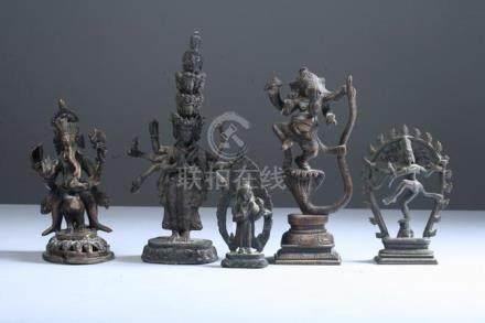 FOUR INDIAN BRONZE FIGURES OF DEITIES. - Largest: 7 in. high