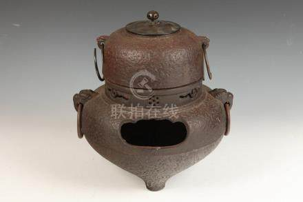 JAPANESE IRON VESSEL WITH LID. - 14 in. high.