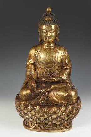 TIBETAN/CHINESE BRASS FIGURE OF BUDDHA. - H: 23 in.