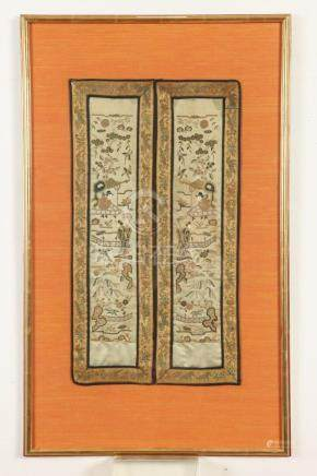 CHINESE EMBROIDERY SILK PANEL, 19th century. - 21 3/4 in. x
