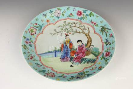 CHINESE FAMILLE ROSE PORCELAIN CHARGER, Qianlong four charac