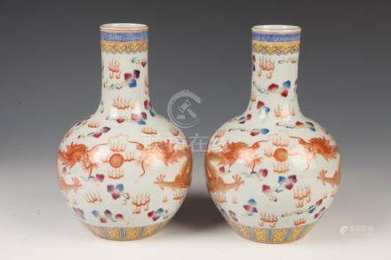 PAIR OF CHINESE FAMILLE ROSE PORCELAIN VASES, Qianlong six c