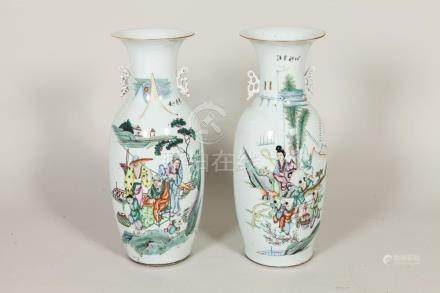 PAIR LARGE CHINESE VASES WITH CHINESE CHARACTERS AND FIGURES