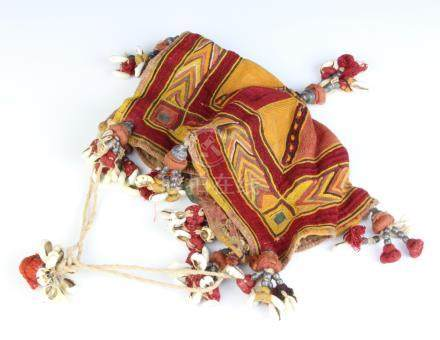 """A """"Tibetan"""" fabric and shell decorated cloth bag 16cm x 18cm"""